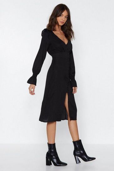 Womens Black Button-Down With Something Midi Dress