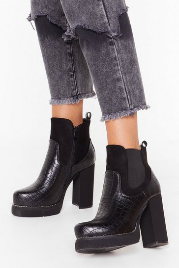 Black Croc What You Got Faux Leather Platform Boots