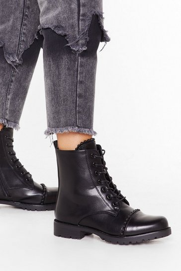 Womens Black Find Your Feet Faux Leather Lace-Up Boot