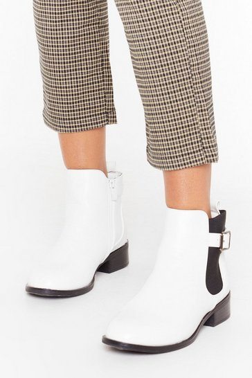 White Just My Buck-le Faux Leather Ankle Boots