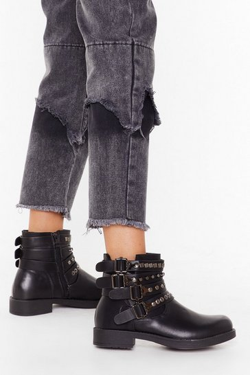Womens Black Like I Give a Buck-le Faux Leather Ankle Boots