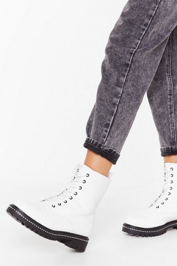 Womens White Too Stud at Goodbyes Faux Leather Lace-Up Boots