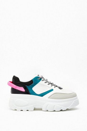 Womens Teal Running Out of Options Colorblock Chunky Sneakers