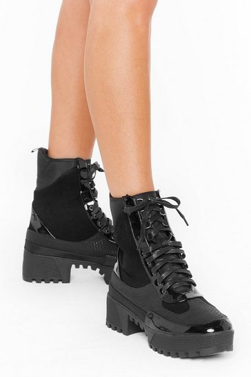 Black There's Been a Mix Up Chunky Hiker Boots