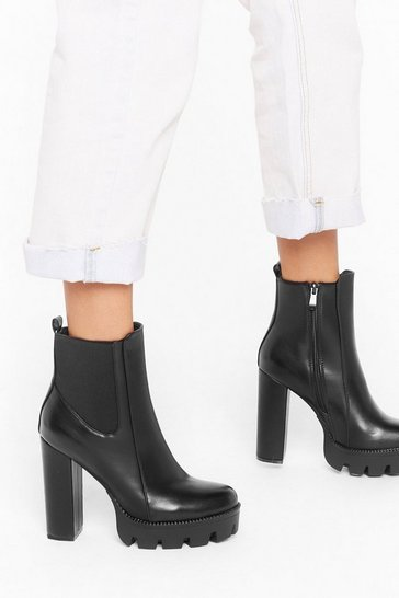 Womens Black End On a High Note Faux Leather Platform Boots