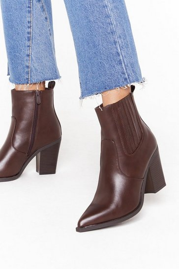 Womens Brown Hit the Point Faux Leather Western Boots