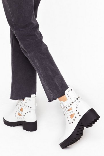 Womens White Stud the Test Cut-Out Strappy Boots
