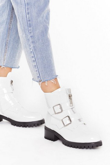Womens White Double buckle patent cleat biker boot