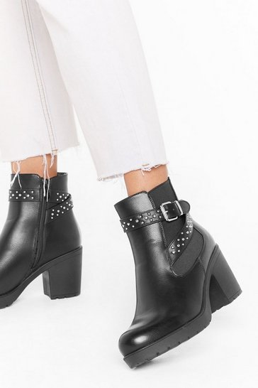 Black Put On a Stud Show Faux Leather Chelsea Boots