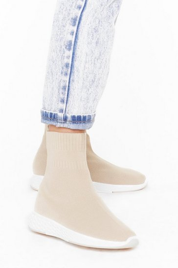 Womens Beige Knit's Getting Cold Sock Sneakers