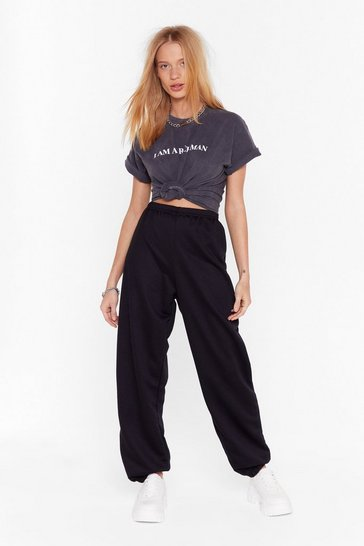 Black Stretch Waist High-Waisted Joggers with Fitted Cuffs
