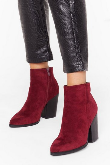 Burgundy Don't Stand For It Faux Suede Ankle Boots