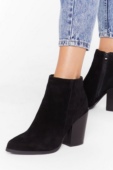 Womens Black Don't Stand For It Faux Suede Ankle Boots