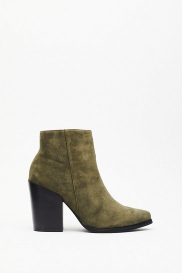 Womens Khaki Don't Stand For It Faux Suede Ankle Boots