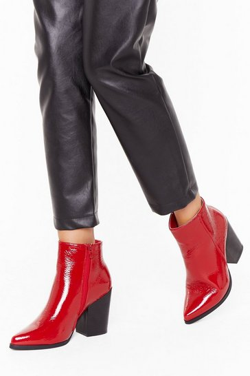 Red Save Your Soul Faux Leather Patent Boots