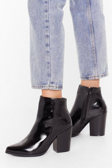 Black Save Your Sole Faux Leather Patent Boots