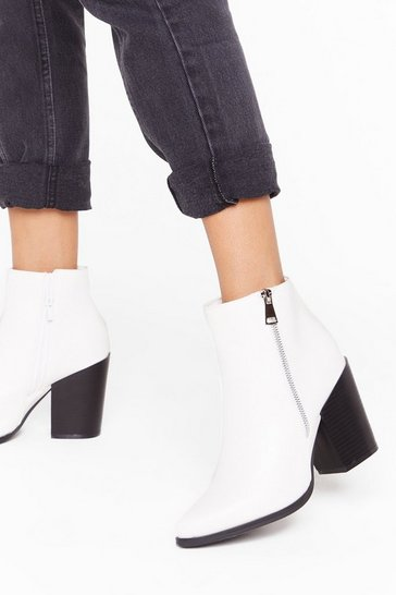 Womens White Zip It Faux Leather Ankle Boots