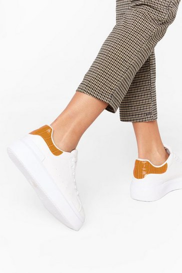 Womens White Sneaking Around Faux Leather Croc Sneakers