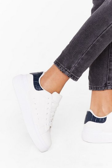 Womens Blue Sneaking Around Faux Leather Croc Sneakers
