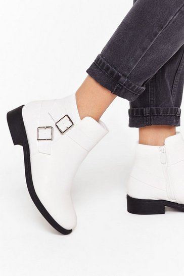 Womens White A Low It Buckle Ankle Boots