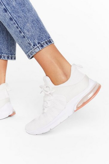 Womens White Walkin' on Air Bubble Mesh Trainers