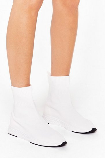 Womens White Let's Run With It Sock Sneaker