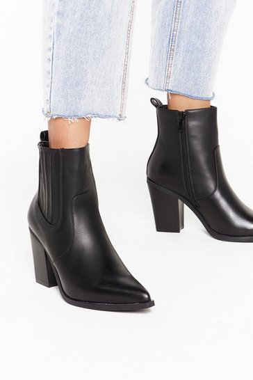 Womens Black Would Like to Point Out Faux Leather Western Boots