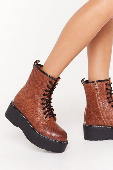 Womens Brown Chip Off the Old Croc Faux Leather Platform Boots