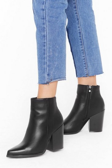 Womens Black When You Walk in the Room Leather Ankle Boots
