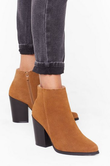 Womens Tan Suede With Me Ankle Boots