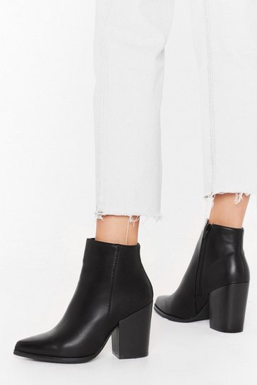 Black Save Your Sole Faux Leather Ankle Boots