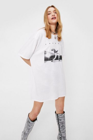White Freddie Mercury Graphic Band Tee Dress