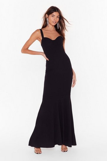 Womens Black Dramatic Ending Fishtail Maxi Dress