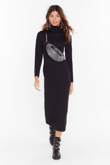 Womens Black Knit Won't Take Long Turtleneck Midi Dress