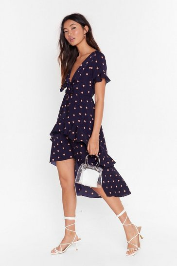 Navy spot print tie detail midi dress