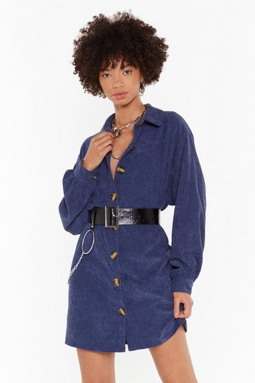 Womens Blue The Easy Way Out Corduroy Shirt