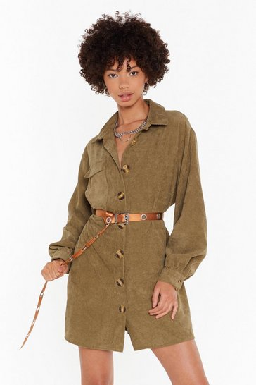 Womens Khaki The Easy Way Out Corduroy Shirt