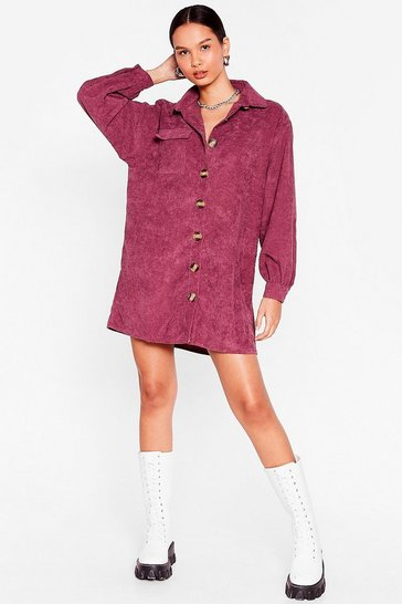 Mauve The Easy Way Out Corduroy Shirt Dress