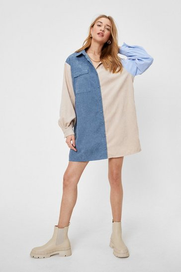 Baby blue Writers Block Colour Corduroy Shirt Dress