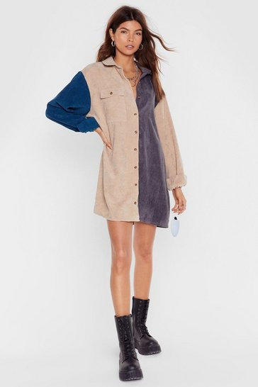 Grey Writers Block Colour Corduroy Shirt Dress