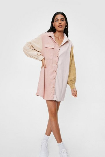 Peach Writers Block Colour Corduroy Shirt Dress