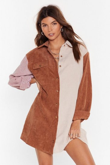 Tan Writers Block Colour Corduroy Shirt Dress