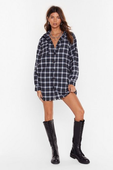 Grey For the Check of It Shirt Dress