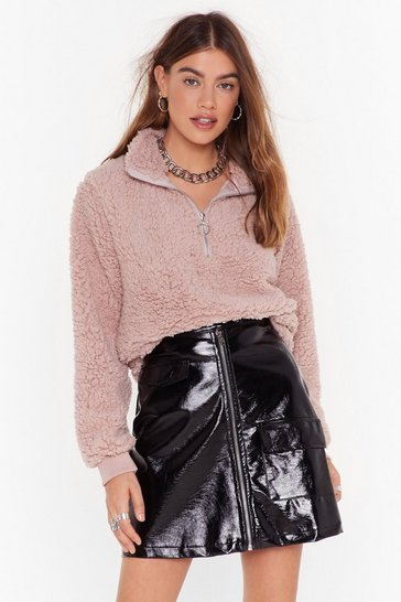 Womens Rose Take a Soft Approach Faux Shearling Sweatshirt