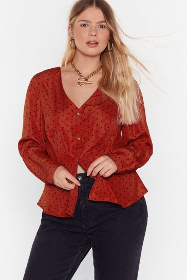 Red Polka Hot Button-Down Plus Blouse