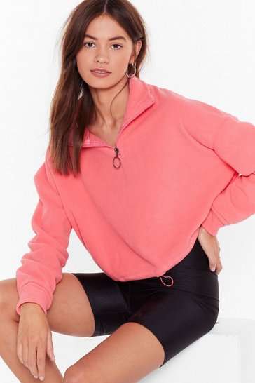Womens Coral Shake Your Zips Cropped Sweater