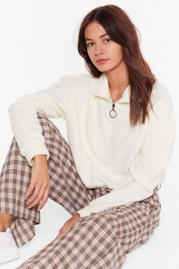 Womens Cream Shake Your Zips Cropped Jumper