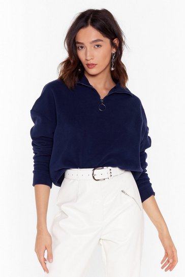 Womens Navy Shake Your Zips Cropped Jumper