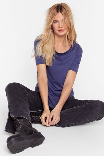 Womens Blue Join the Crew Neck Tee
