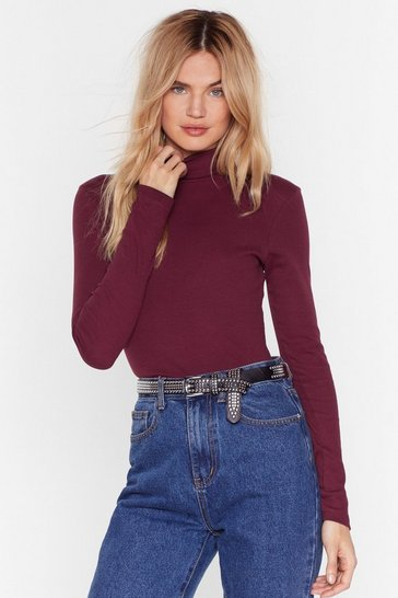 Burgundy All Time High Ribbed Turtleneck Top
